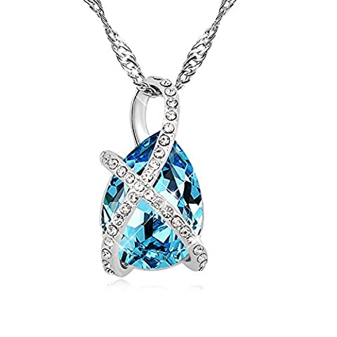 FANSING Jewellery Austrian Crystal 2.6cm*1.4cm Pendant Necklaces for Women Sea Blue 40+5cm/16+2