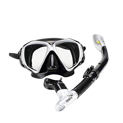 Tauch-Schnorchel-Set, klare Sicht Easy Breathing Tauch-Kit für Erwachsene mit Anti-Fog-Schutz Leckdichte gehärtete Schutzbrille Maske Trockene Schnorchel (Schwarz)