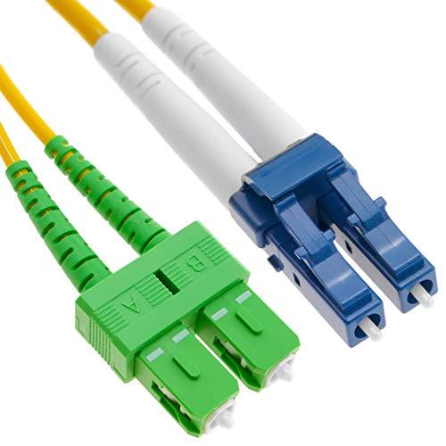 BeMatik LWL-Kabel LC/PC zu SC/APC Single Duplex 9/125 20m OS2 (FK008)