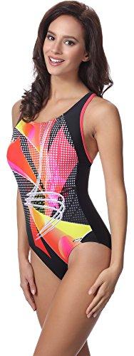 aQuarilla Damen Schwimmanzug AQ81 Schwarz/Orange/Korallenrot