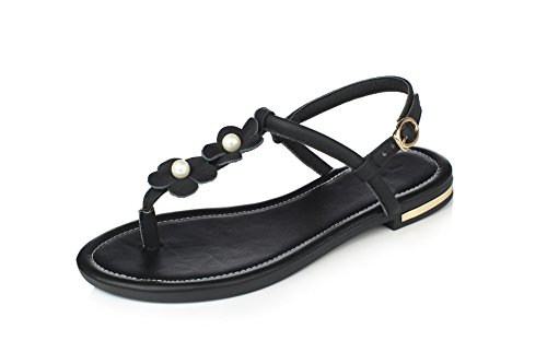 865f79627a5e VogueZone009 Women s Split Toe No Heel Soft Material Solid Buckle Flip-Flop- Sandals