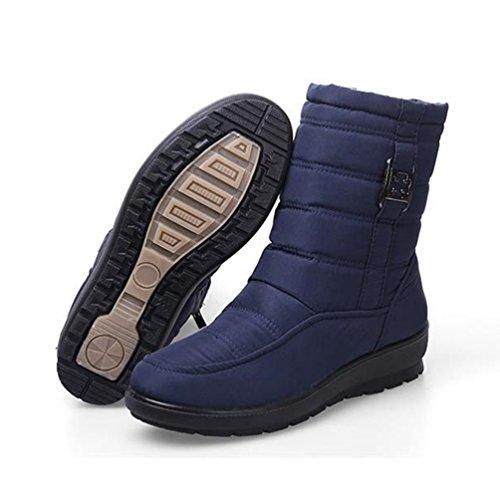 Yiiquan Donna Stivali da Neve Scarpe Invernali Stivaletti Caldi Pellicola Imitazione Impermeabile Blu