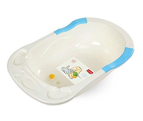 LuvLap Baby Bathtub with Anti-Slip (White&Blue)