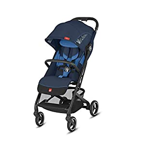 gb Gold Qbit+ All-City Compact Pushchair, Lie-Flat Reclining Seat, from Birth to 17 kg (Approx. 4 Years), Black Frame, Night Blue   12