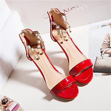 LvYuan Da donna-Sandali-Ufficio e lavoro Formale Serata e festa-Comoda Club Shoes-Quadrato A stiletto-Lustrini Materiali personalizzati-Rosso Red