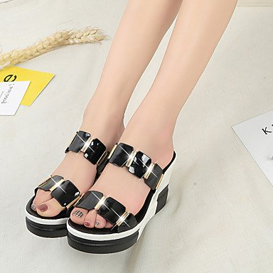 LvYuan Sandali-Ufficio e lavoro Formale Casual-Club Shoes-Zeppa-PU (Poliuretano)-Nero Bianco Black