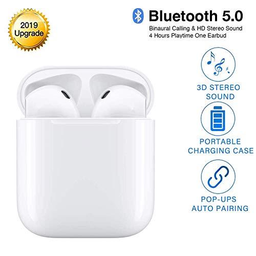 True Casque sans Fil, Écouteurs Bluetooth Sport 5.0 20h de Lecture stéréo 3D HD Écouteurs sans Fil avec Mic et Boîte de Charge, Réduction du Bruit TWS Oreillette Bluetooth pour iOS Android
