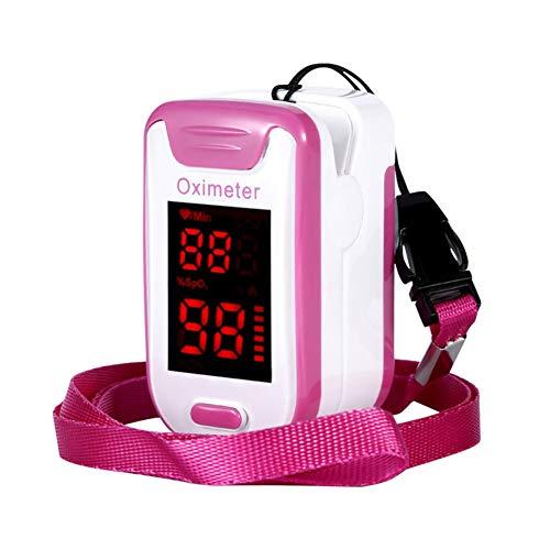 ZYFWBDZ Fingerspitzen-Pulsoximeter Überwachung der Sauerstoffsättigung Herzfrequenz-Messgerät mit Lanyard-Seite Tragbar für Familiensportreisen,Rosa