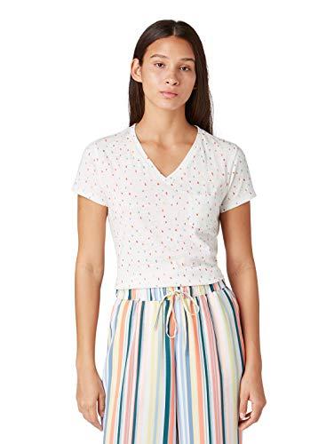 Denim-t-shirt Top (TOM TAILOR Denim T-Shirts/Tops T-Shirt mit Print White Multicolor dots, XL)