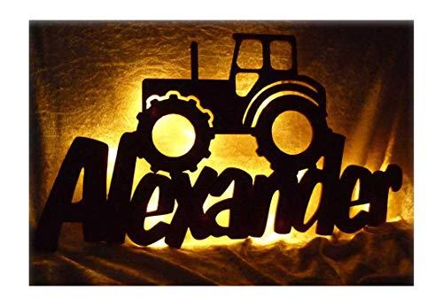 Schlummerlicht24 3d Led Möbel Deko-Licht Trekker Traktor-Lampe mit Namen Für Männer Mann Kinder Jungen Jungs ab 0 1 2 3 4 5 6 7 8 9 Monate Jahre Jähriges Zimmer-Einrichtung Bauernhof (Geburtstags-geschenk-ideen Für Jungen 1.)