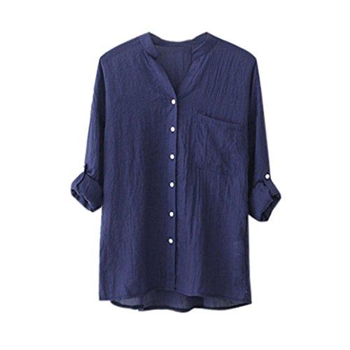 MRULIC Damen Mädchen Langarm Gedruckt Shirt Beiläufige Lose Baumwolle Frühling Herbst Tops Solide Elegante T-Shirt mit Knöpfe (EU-38/CN-XL, Blau)