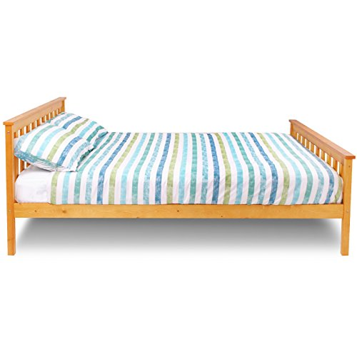 "New 4ft 6"" Double Teen Adult Bedroom Sleigh Honey Pine Wood Wooden Bed Frame"