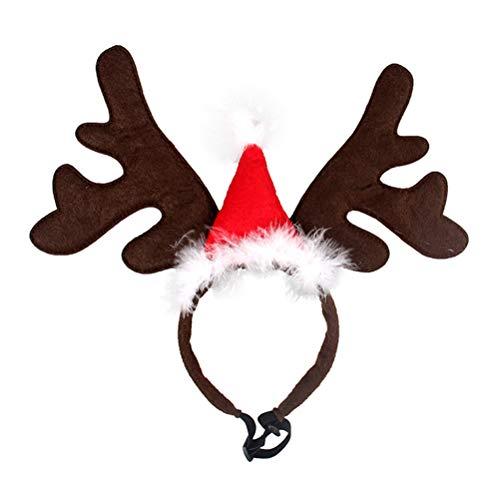BESTOYARD Haustier Stirnband Weihnachten Rentier Geweih Stirnband mit Weihnachtsmütze Weihnachtskostüm für Haustier Hund Katze