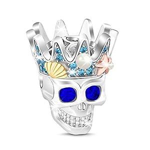 """GNOCE Schädel Anhänger Charm Mit Saphir Augen 925 Sterling Silber""""zu jedem freundlich zu sein"""" Perlen Charms mit Zirkonia für Armbänder Halsketten"""