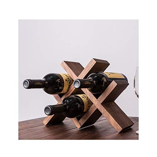 Weinregal, massivholz weinregal Diamant schwarz nussbaum weinschrank Wohnzimmer Dekoration Wein Hause Eiche weinregal (Color : Brown)