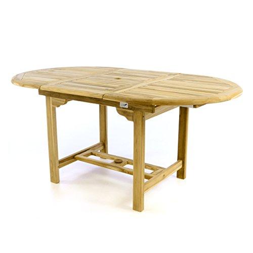 Divero Gartentisch Esstisch Balkontisch Holz Teak Tisch für Terrasse Balkon Wintergarten - oval Wetterfest unbehandelt - ausziehbar 120-170 cm braun -