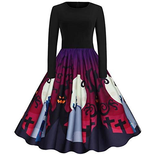 ERFD&GRF Frauen Langarm Halloween Hausfrau Party Abendkleid Plus Size Damen Kleid Kostüm Femme Halloween W #, XXL