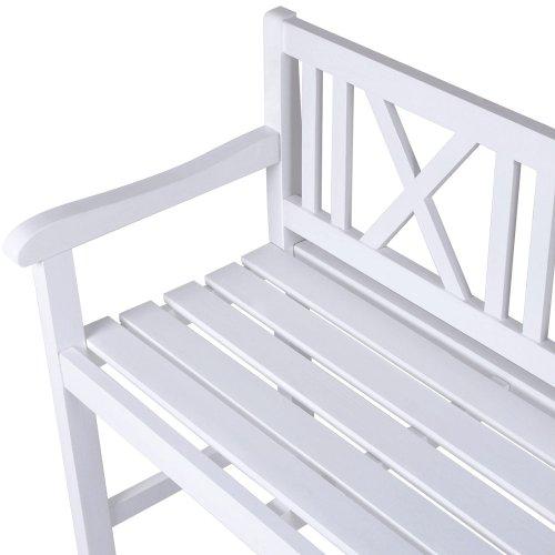 Miadomodo–Gartenbank weiß aus Fichtenholz - 4