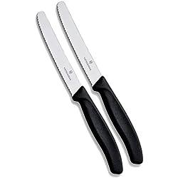 Victorinox Lot de 2 Couteaux de Cuisine à Lame ondulée Ultra aiguisée avec Manche Ergonomique Compatible Lave-Vaisselle Noir 11 cm