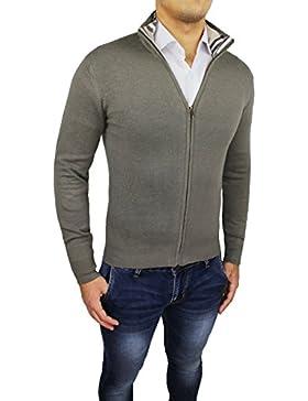 Maglione cardigan uomo beige slim fit aderente maglia maglioncino invernale casual fantasia scozzese