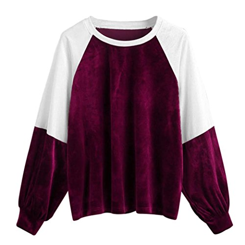 LMMVP_Damen Sweatshirts Pullover Hoodie Damen,LMMVP Frauen Patchwork Lange Hülsen Sweatshirt Pullover Oberseiten Bluse (M, Purple) (Bouclé Jacke Stricken)