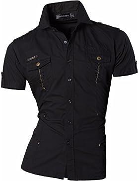 Sportrendy Military Uomo Designer Camicie Unico Estive a Maniche Corte Moda Casual Shirt MAJ018