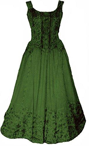 Dark Dreams Kleid Mittelalter Gothic Schnürung Audry schwarz rot grün braun weiß 36 38 40 42 44 46, Farbe:grün, Größe:XXL
