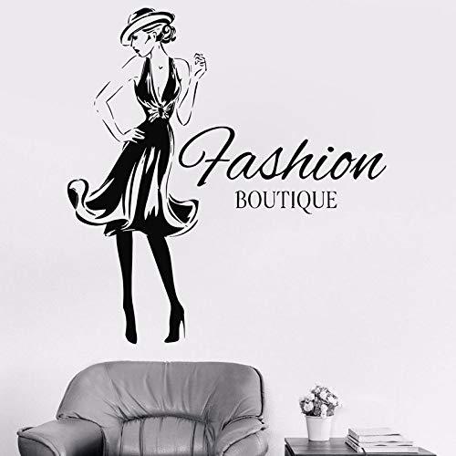 Mode Frau Design Vinyl Aufkleber Mädchen Mode Kleidung Boutique Fenster Shop Wohnzimmer Wandtattoo Gil Wohnheim Aufkleber a9 57x60cm (Boutique Kleidung Kid)