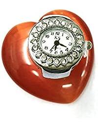 Ecloud Shop® 29mm El Anillo de Dedo de la Flor de Cristal de Cuarzo del Reloj del Rhinestone