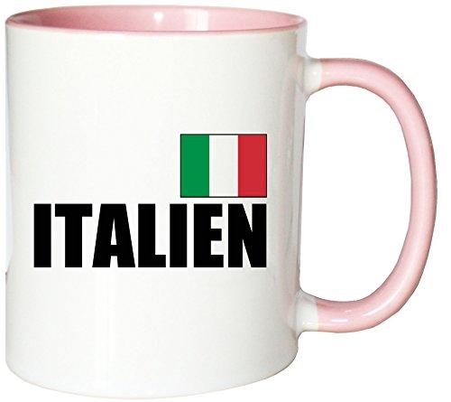Mister Merchandise Kaffeetasse Italien Fahne Flag Teetasse Becher, Farbe: Weiß-Rosa