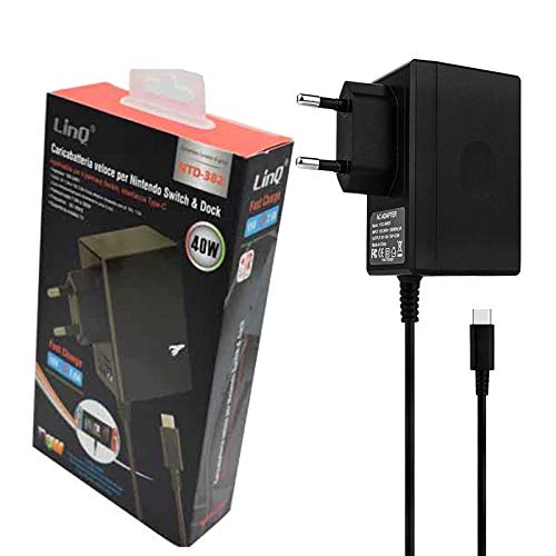 Ladegerät für Nintendo Switch Ladegerät, Netzteil PD Typ-C Wand Reise-, Arbeit mit Switch Dock Station, TV-Modus unterstützt, Doppelspannung (Gleichstrom), Schwarz