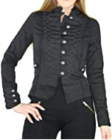 #2173 Damen Designer Jacke Baumwolle Mantel Damen Neu Schwarz Gothik Brokat Steampunk Militär 34 36 38