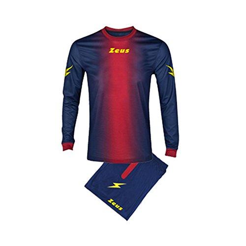 Zeus Herren Kinder Set Trikot Shirt Hosen Klein Armel Kit Fußball Hallenfußball KIT ERCOLE BLAU-ROT (XL)