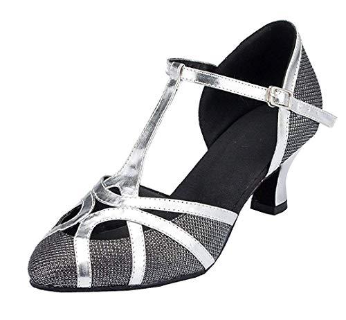 Fashion Damen T-Starp geschlossener Zehenbereich Glitzer Synthetik Abend/Hochzeit Tango Ballroom Modern Latein Tanzschuhe, Black-6cm Heel - Größe: 35 EU