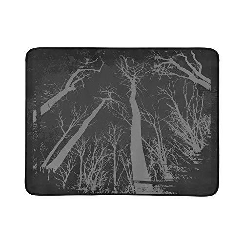 KAOROU Spooky Grunge Forest Illustration Halloween-Muster Tragbare und Faltbare Deckenmatte 60x78 Zoll Handliche Matte für Camping Picknick Strand Indoor Outdoor-Reisen