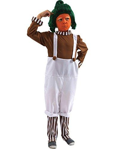 Kinder Oompa Loompa Kostüm mit Perücke Karneval Fasching Verkleidung (Mit Kostüm Kostüm Oompa Perücke Loompa)