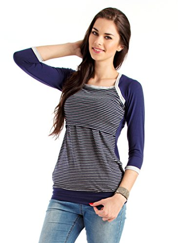 "Milchshake - süßes Umstands- / Stillshirt - 3/4el Arm - ""Nixie""- blau-grau - Größe XL"