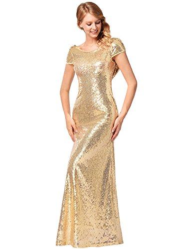 Frauen Kurzarm O-Ausschnitt Fischschwanz hell Abend Prom Pailletten Kleid Gold S - 2