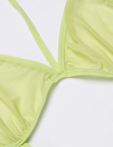 Avidlove Damen Erotik Babydoll Negligé Neckholder G-String Nachtwäsche Nachtkleid Nachthemd Kleid Lingerie Dessous Set mit Tief V-Ausschnitt 2tlg. Set Grün