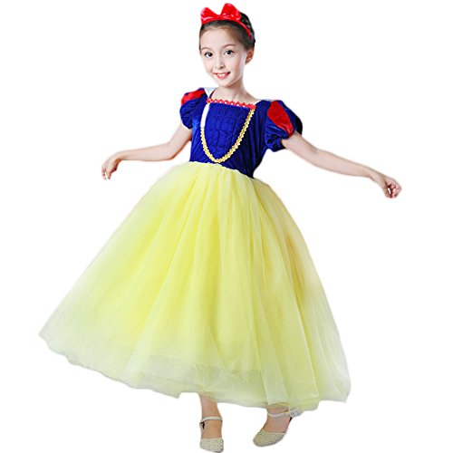 CQDY Schneewittchen Kostüm Prinzessin verkleiden Sich Flanell Kostüm Cosplay Halloween Weihnachten Kostüm Kleid mit Stirnband (Disney Kostüme Princess)
