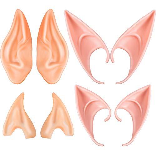 Boao 4 Paar Elf Ohren Masken Ohren Alien Fairy Goblin Ohren für Cosplay Halloween Weihnachten