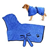 RCruning-EU Bademantel Hunde, Badehandtuch Schnell Trocknende Tücher Hund/Katze mit Verstellbaren Trägern Kapuze M- Blue