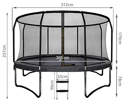 MALATEC Gartentrampolin mit Sicherheitsnetz und Leiter HQ Ø 305/360 cm Outdoor Trampolin 2211, Größe:305 (8 stangen) -