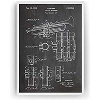 Trompeta Poster de Patente Trumpet Patent Póster Con Diseños Patentes Decoracion de Hogar Inventos Carteles Prints Wall Art Posters Regalos Decor Blueprint - Marco No Incluido