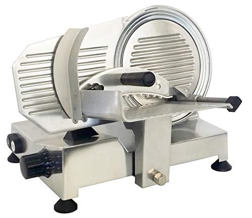 Lama antiaderente in acciaio Ø220 mm, motore professionale ventilato elettrico 160W. Affilatoio amovibile compreso. Struttura in alluminio pressofuso brillantato. DIMENSIONI cm 28,5x38x36x44x32 TAGLIO UTILE mm.220x165, ALLACCIAMENTO ELETTRICO230x50x1...