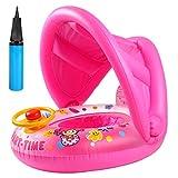 Shinelee Flotador Bebe Flotadores Inflable con Asiento Techo del Sol Barca de Piscina Anillo de Natación para Bebés Niños 6-36 Meses (Rosa)