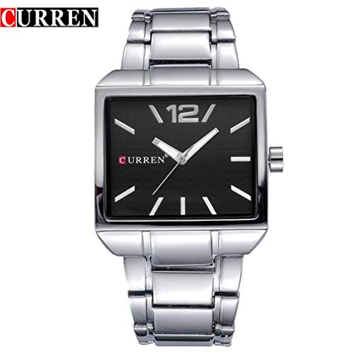 FDBF Fashion Square Neutral Steel Belt Watch Quartz Waterproof Watch