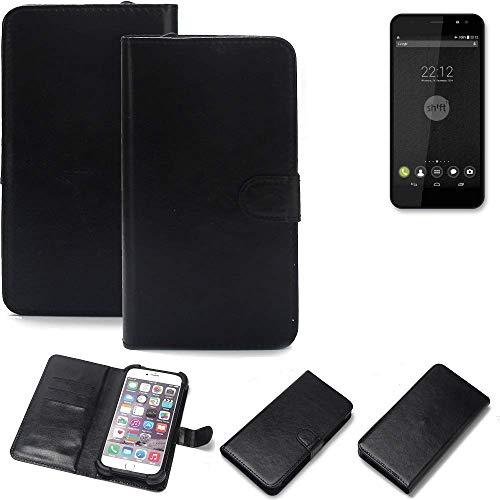 K-S-Trade® 360° Wallet Case Handyhülle Für Shift Shift5+ Schutz Hülle Smartphone Flip Cover Flipstyle Tasche Schutzhülle Flipcover Slim Bumper Schwarz, 1x