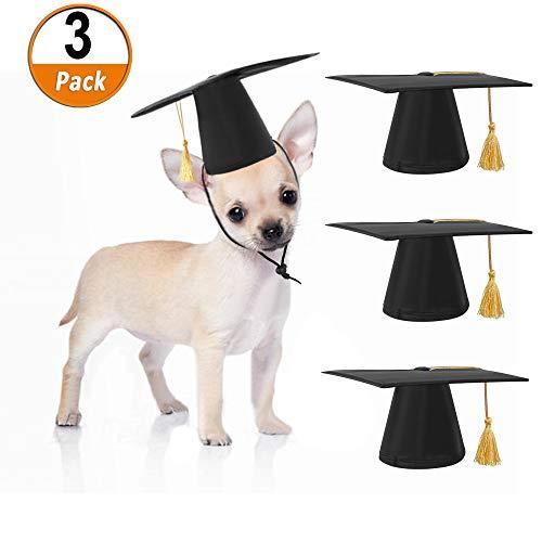 austier Kappen, Lustige Schwarz Kleiner Hund Akademische Kappe Haustier abschluss Hut Mit Gelben Quaste, Cosplay Pet Party Bekleidung für kleine Hunde & Katzen ()