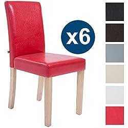 CLP 6x sillas de comedor INA, estructura en madera color natural, tapizado en piel sintética, altura asiento 47 cm rojo